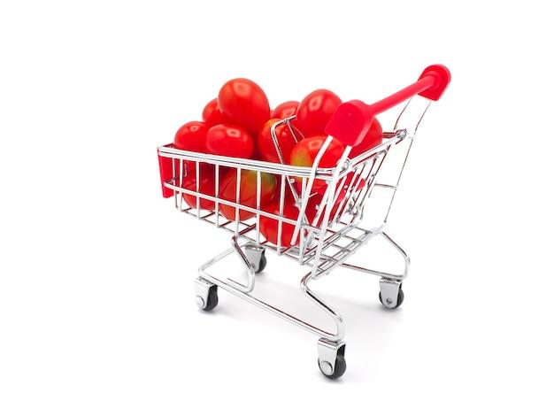 Raisin frais ou tomate cerise en trolly sur fond blanc.