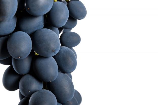 Raisins noirs avec goutte d'eau isolé sur fond blanc