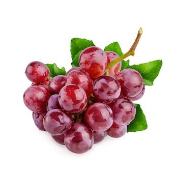 Raisins rouges isolés sur fond blanc
