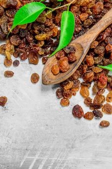 Raisins secs aux feuilles vertes. sur une table rustique.