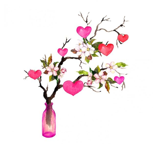 Rameau avec coeurs, fleurs de fleurs de printemps dans une bouteille en verre. aquarelle pour la saint-valentin ou le mariage
