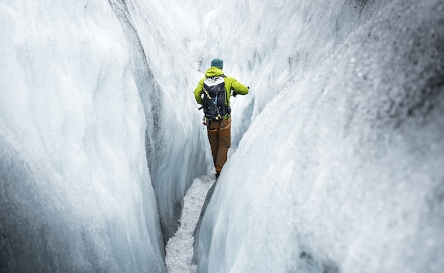 Randonnée sur un glacier