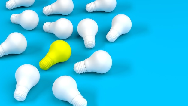 Rangée d'ampoules blanches avec ampoule jaune sur bleu