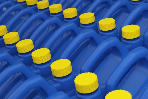 Rangée de bidons en plastique bleu liquide chimique avec gros plan extrême de maquette de capuchon jaune. rendu 3d