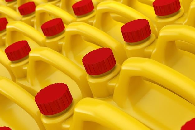 Rangée de bidons en plastique jaune liquide chimique avec gros plan extrême de maquette de capuchon rouge. rendu 3d