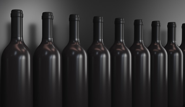 Rangée de bouteilles de vin
