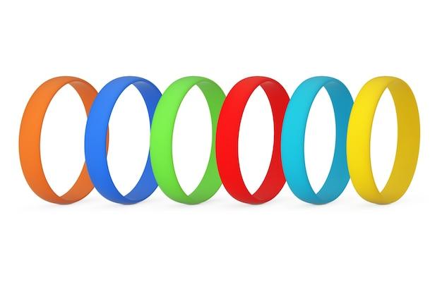 Rangée de bracelets en silicone ou en caoutchouc promo vierge multicolore sur fond blanc. rendu 3d