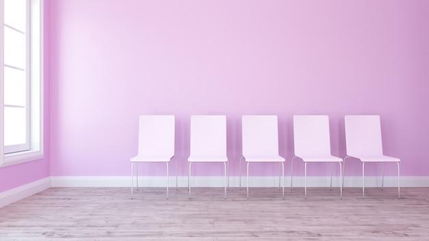 Rangée de chaises 3d dans une salle vide contemporaine