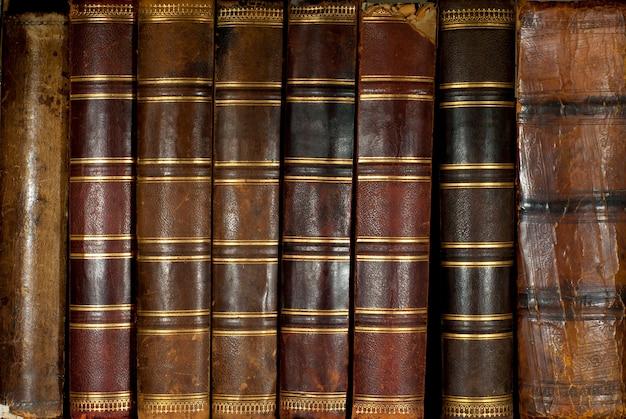 Rangée de dos de livres anciens en cuir usé avec gaufrage or