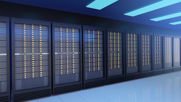 Rangée de racks de serveurs dans le centre de données de la salle des serveurs de sécurité internet du réseau informatique. image de couleur de thème bleu. image de rendu 3d