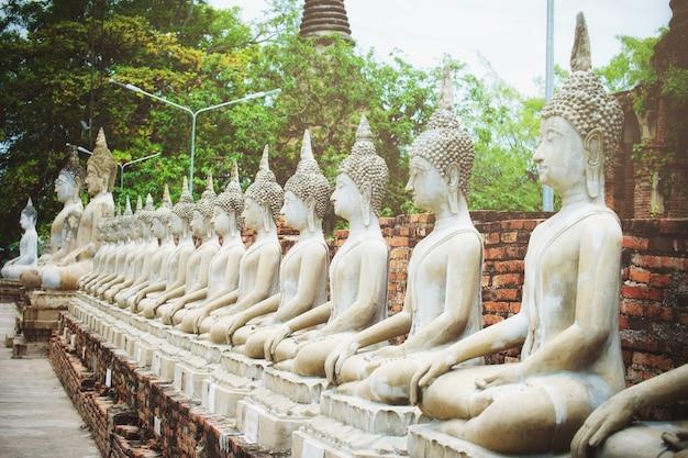 Rangée de statue de bouddha au wat yai chai mongkol, phra nakhon si ayutthaya, thaïlande.