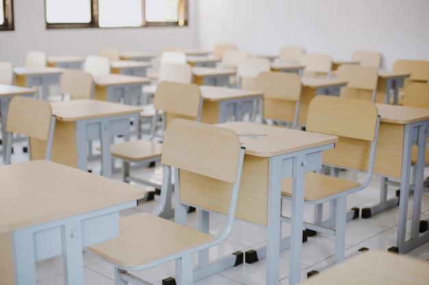 Rangée de tables et de chaises en bois bien disposées dans une salle de classe vide