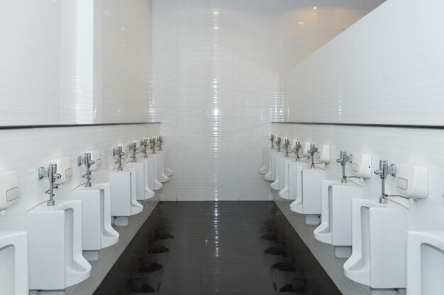Rangée d'urinoirs dans les toilettes publiques