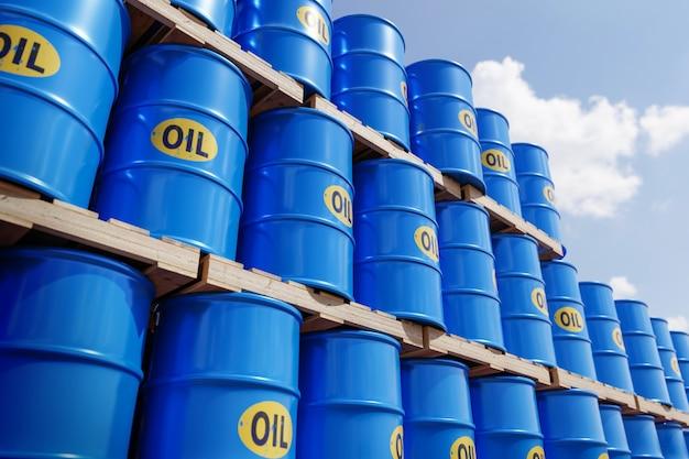 Rangées de barils de barils de pétrole en métal classique