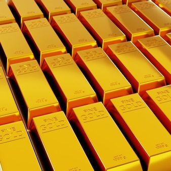 Des rangées de barres dorées. rendu 3d de lingots d'or.