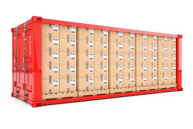 Rangées de boîtes en carton sur des palettes en bois dans un conteneur d'expédition rouge avec paroi latérale retirée sur fond blanc. rendu 3d.