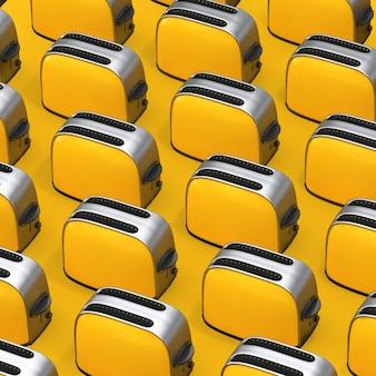 Rangées de grille-pain jaunes vintage sur fond jaune. rendu 3d
