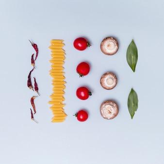 Rangées d'ingrédient de pâtes végétariennes fraîches non cuites sur fond gris