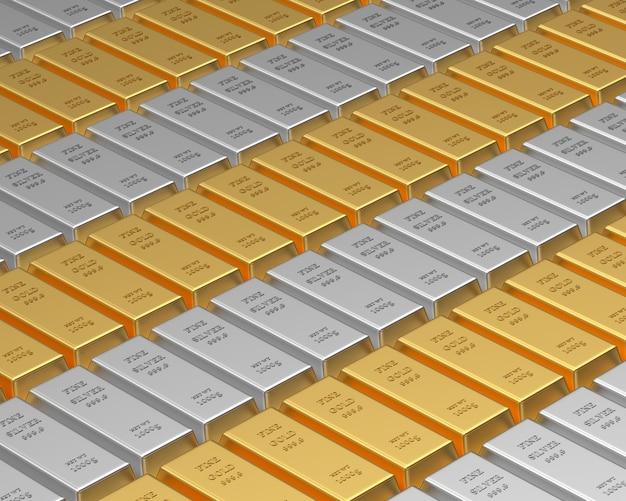 Rangées de lingots d'or et d'argent 3d
