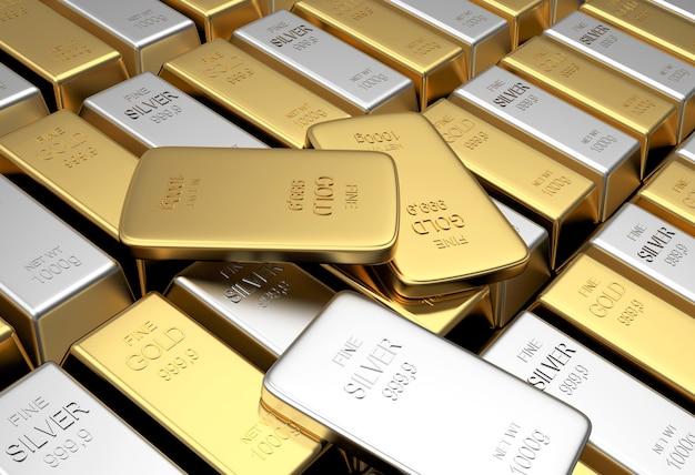 Rangées de lingots d'or et d'argent avec plusieurs barres minces. 3d