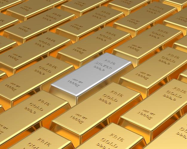 Des rangées de lingots d'or et un argent