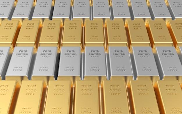 Rangées de lingots d'or et d'argent