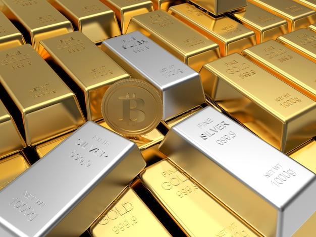 Rangées de lingots d'or avec pièce de monnaie bitcoin et lingots d'argent.