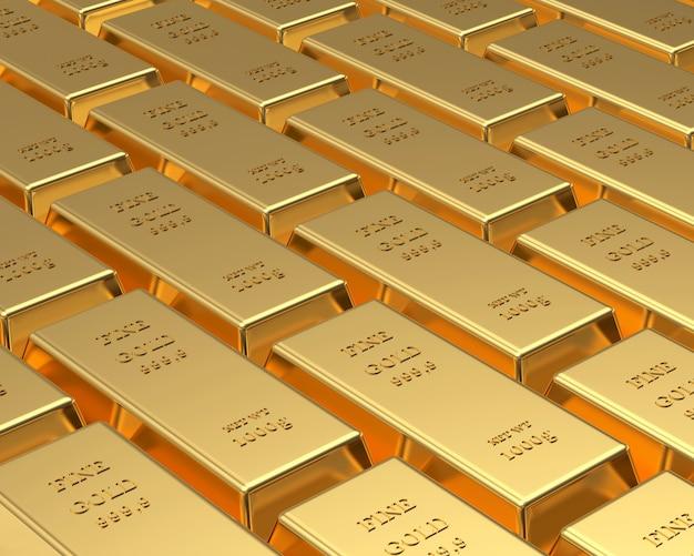 Des rangées de lingots d'or.