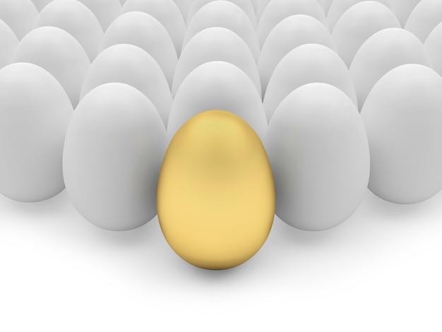 Des rangées d'œufs avec un œuf d'or.