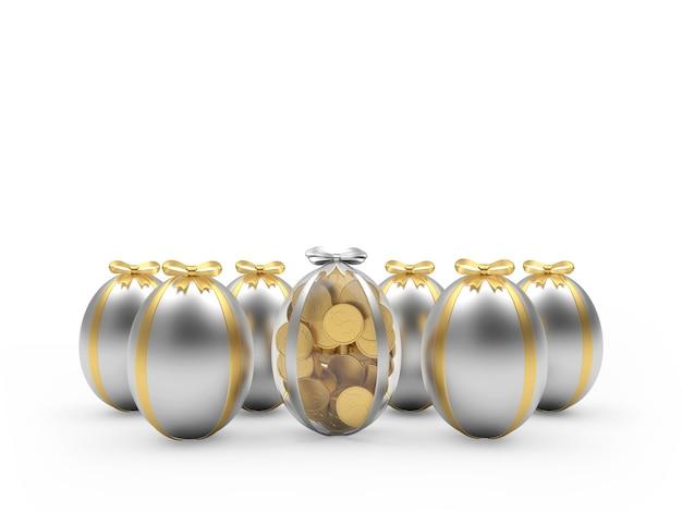 Des rangées d'oeufs de pâques en argent et un œuf rempli de pièces de monnaie.