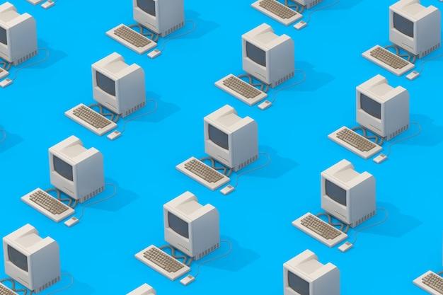 Rangées d'ordinateurs personnels rétro en style isométrique sur fond bleu. rendu 3d