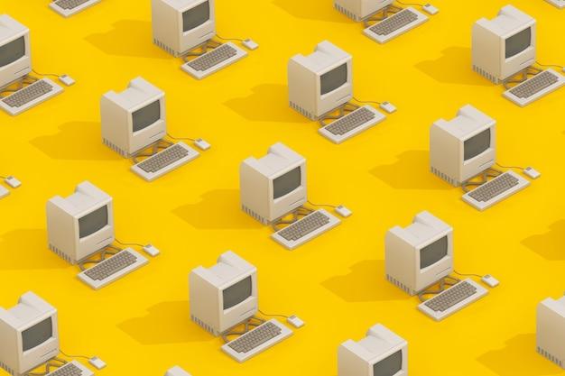 Rangées d'ordinateurs personnels rétro en style isométrique sur fond jaune. rendu 3d