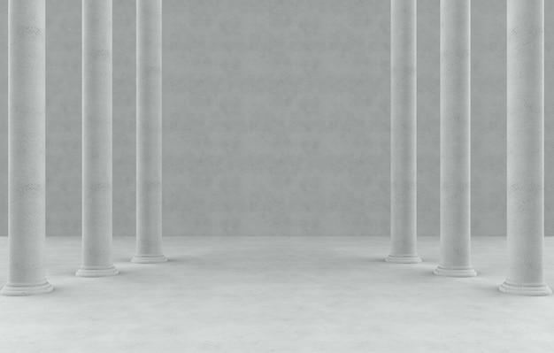 Rangées de pôles de style romain élevé dans le fond de la salle de ciment vide.