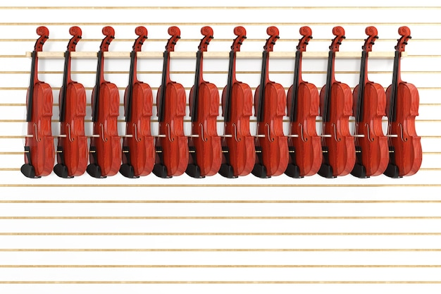 Des rangées de violons en bois rouge vintage à vendre suspendus sur une étagère dans la boutique en gros plan extrême. rendu 3d
