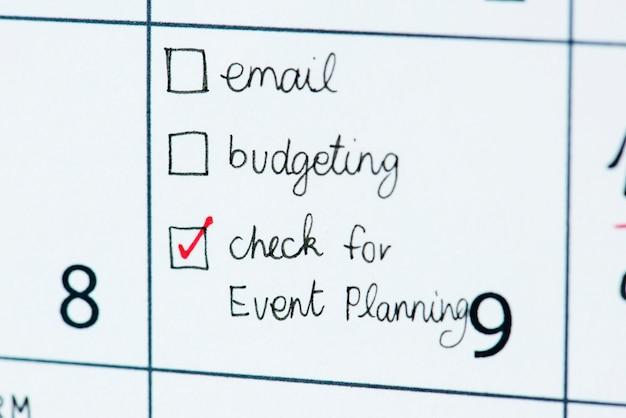 Rappel du calendrier des événements