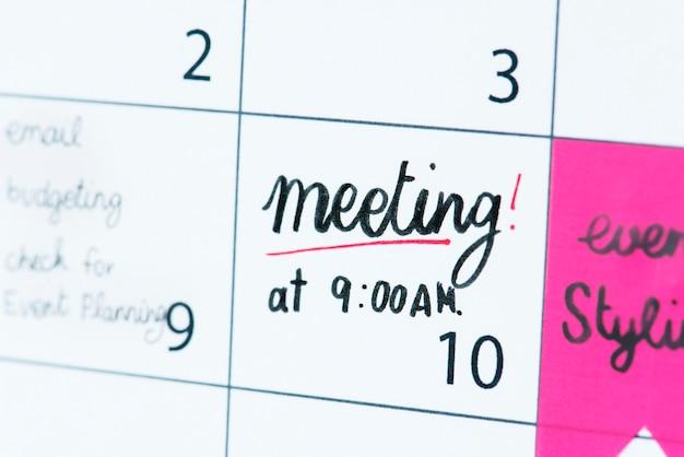 Rappel du calendrier de réunion