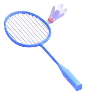 Raquette de badminton et volant rendu 3d