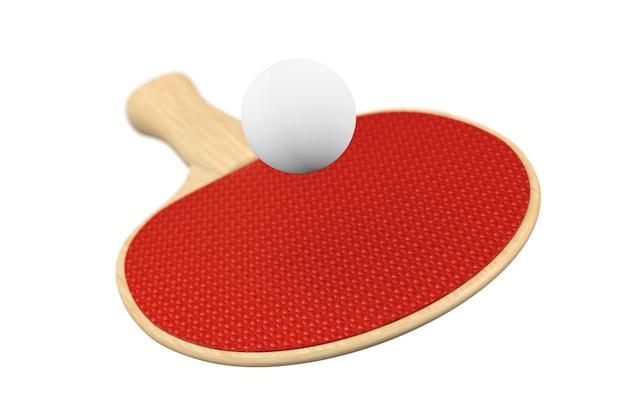 Raquette de ping-pong et balle sur fond blanc