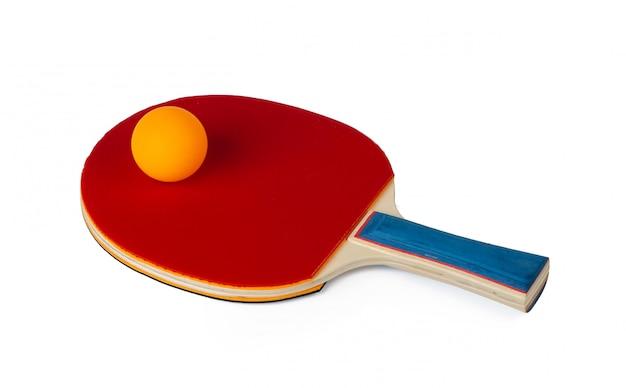 Raquette de tennis de table isolé sur fond blanc