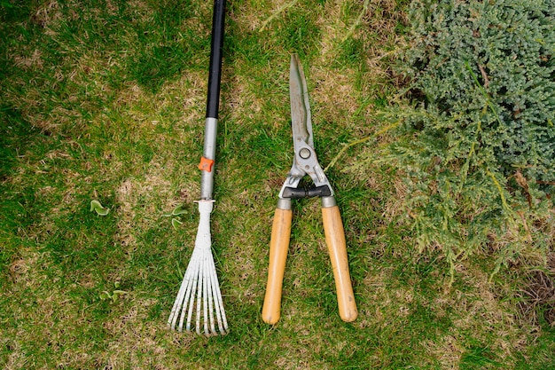Râteau et sécateur d'outils de jardin sur l'herbe verte
