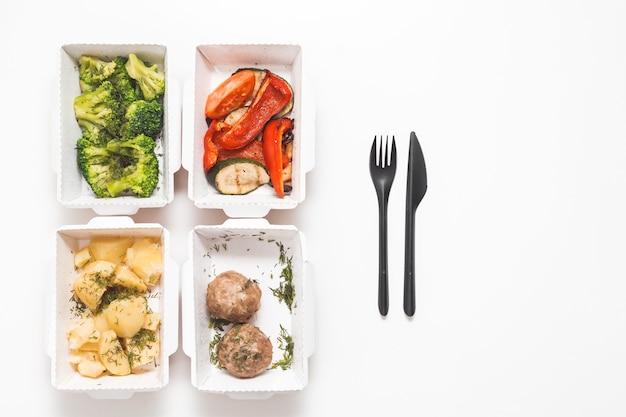 Ration alimentaire quotidienne dans des conteneurs