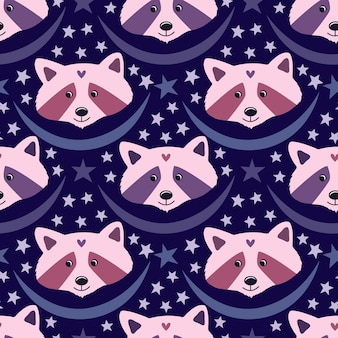 Ratons laveurs mignons dans des couleurs violettes et roses sur fond bleu pour la conception de pyjamas ou les décorations de soirée pyjama.