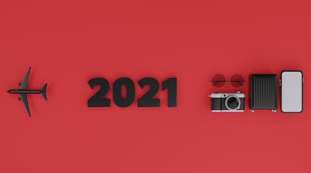 Ravel concept rendu 3d 2021 maquette mobile écran blanc avec avion, appareil photo, bagages et lunettes de soleil