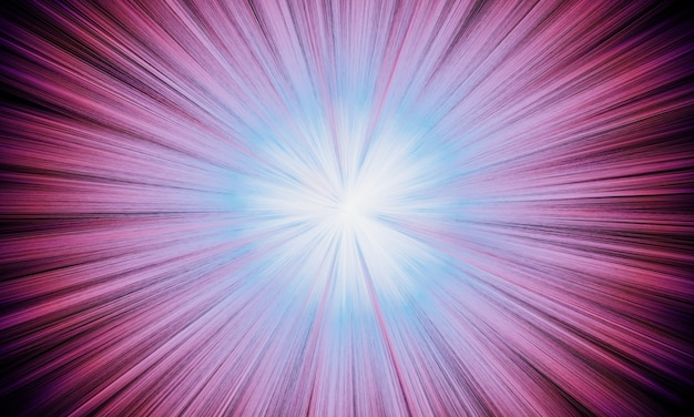 Rayon d'explosion rose abstrait rendu 3d