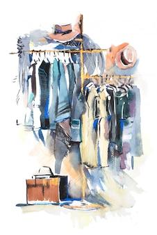 Rayonnage de magasin de vêtements et affichage d'illustration aquarelle de vêtements