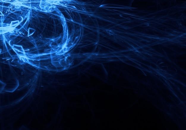 Rayonnement bleu flottant dans l'espace