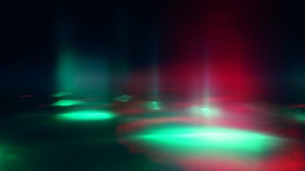 Rayons de lumière abstraite néon sur fond sombre. effet lumineux, spectacle laser, réflexion de surface. rayonnement ultraviolet, discothèque.
