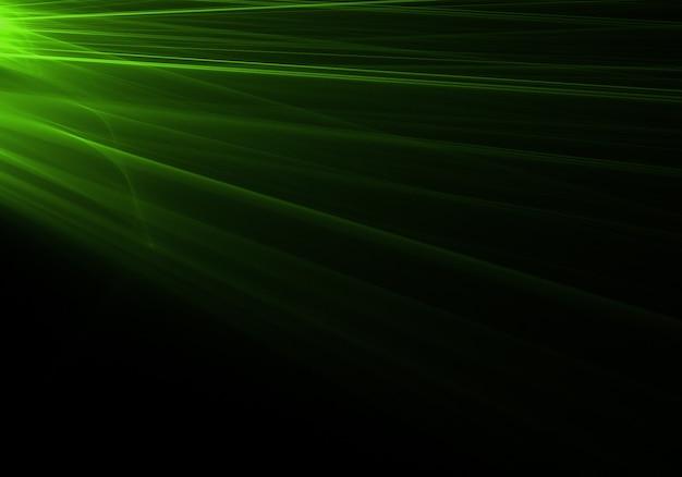 Les rayons lumineux verts venant de la gauche