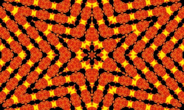 Rayons orange étoiles sur motif texturé rétro noir des années 70. abstrait unique de kaléidoscope. beau modèle sans couture de kaléidoscope. texture transparente de kaléidoscope.