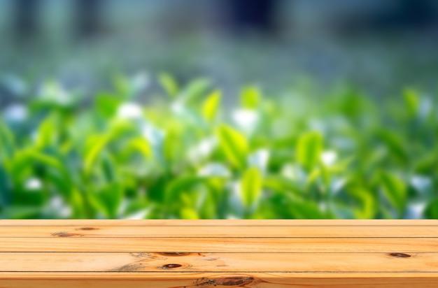 Rayons de soleil sur fond de feuilles d'arbre à thé avec affichage de produits de table en bois